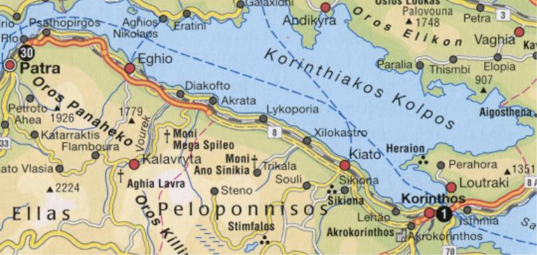 Patra-Korintti kartta